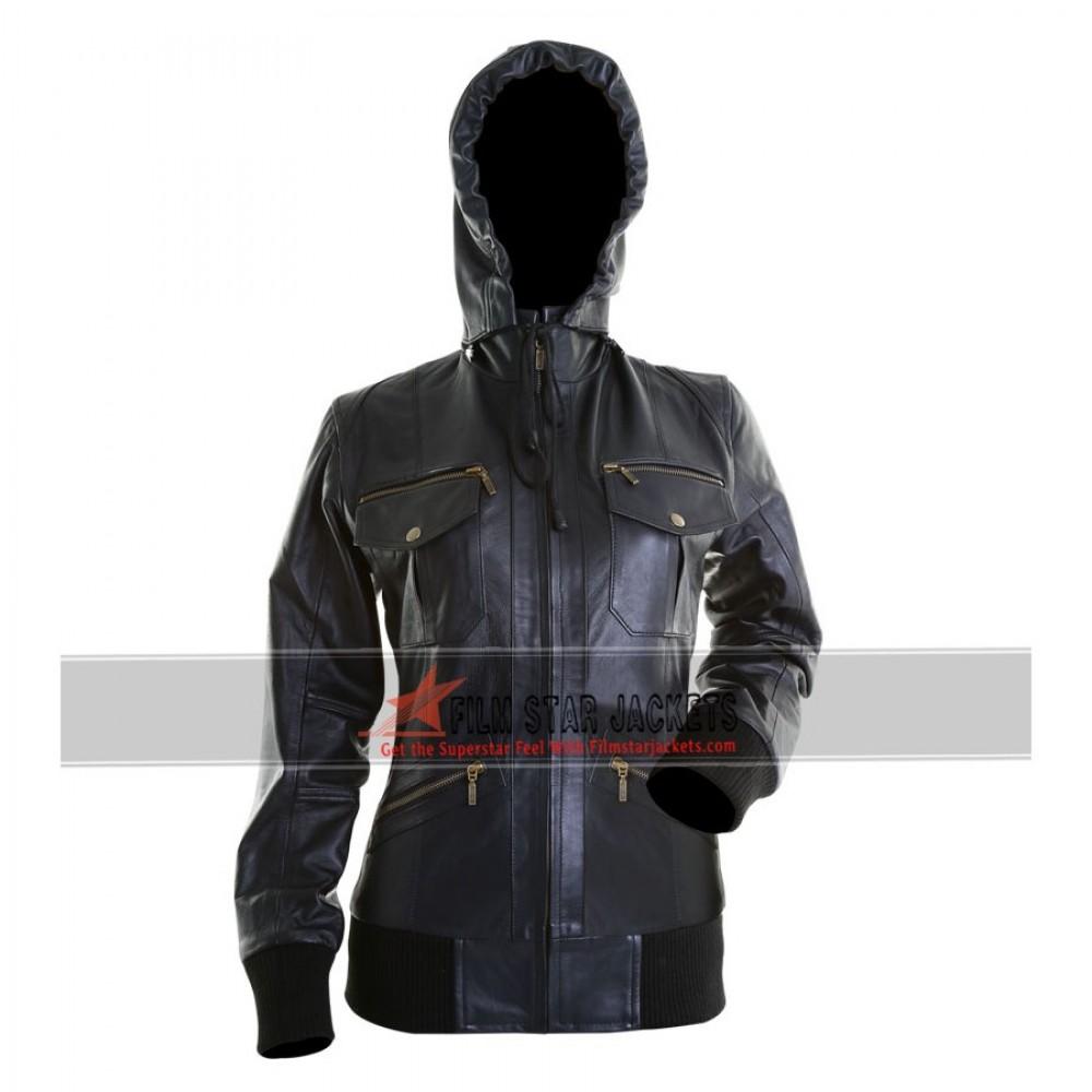 Ladies Black Bomber Hoody Jacket