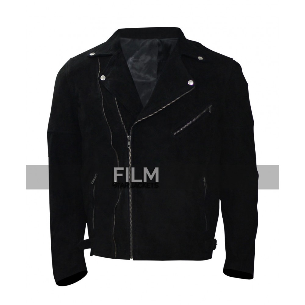 Buddy Baby Driver Jon Hamm Black Leather Jacket