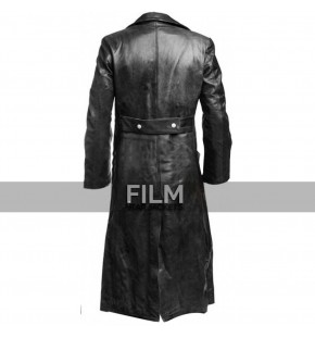 German Classic Law Officer Black Leather Trench Coat