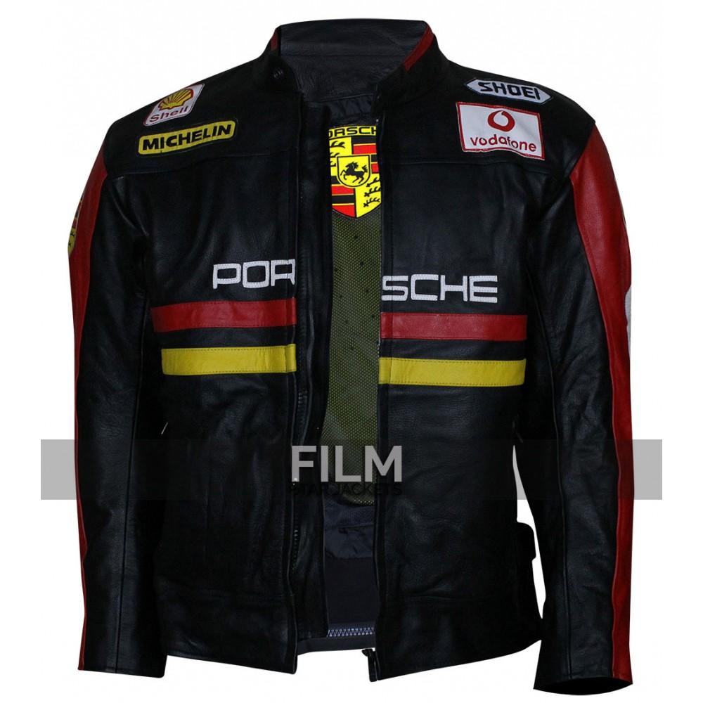 Porsche 930 Turbo Patches Black Leather Jacket