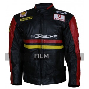 Porsche 930 Turbo Patches Black Leather Jacket