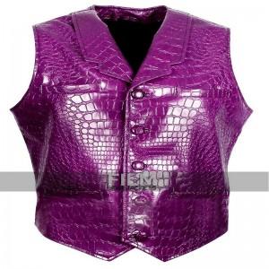 Jared Leto Suicide Squad Joker Purple Crocodile Leather Vest