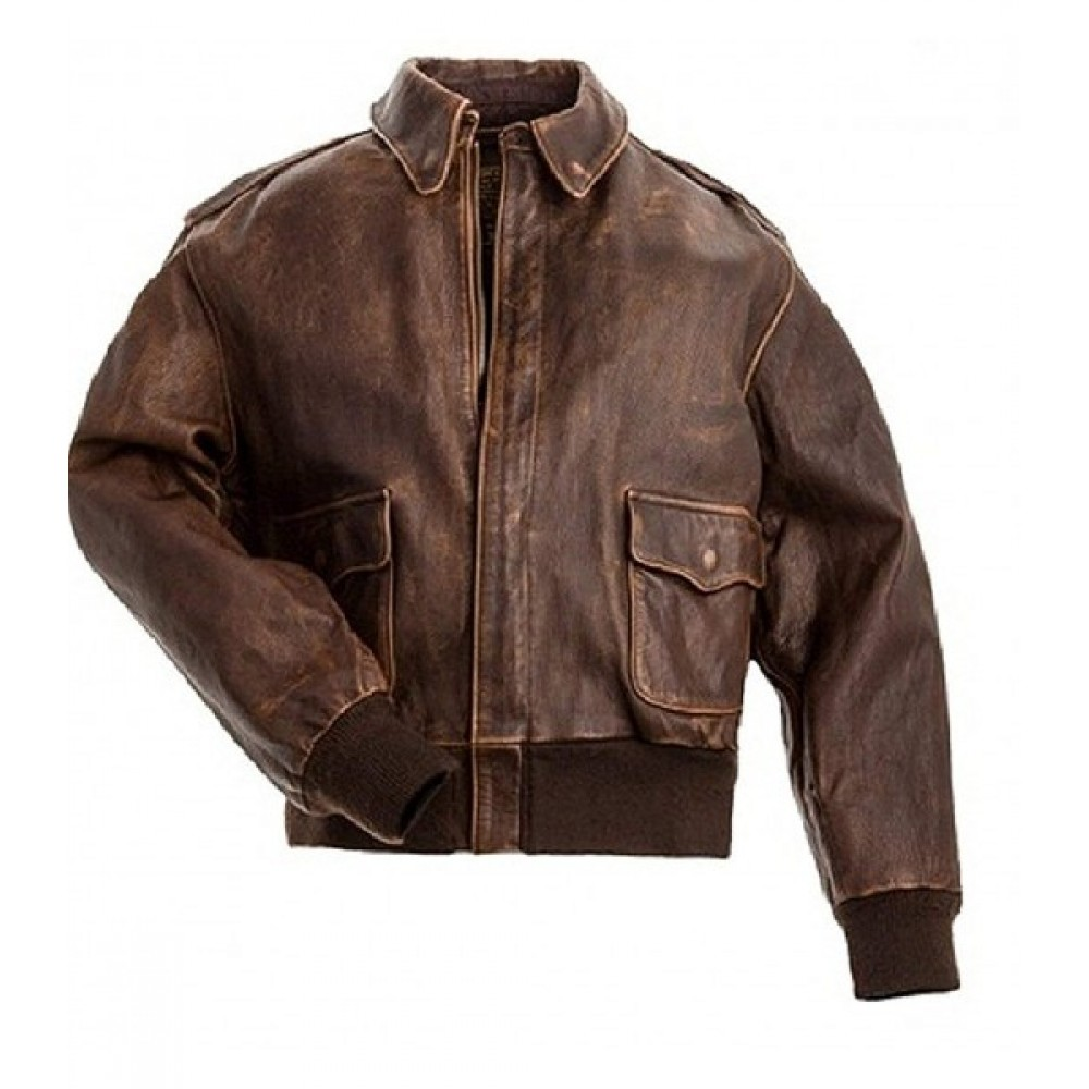 A2 Aviator Air Force Pilot Men Distressed Brown Leather Jacket