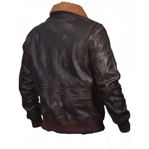 G1 Fur Collar Aviator Air Force Men Distressed Leather Jacket