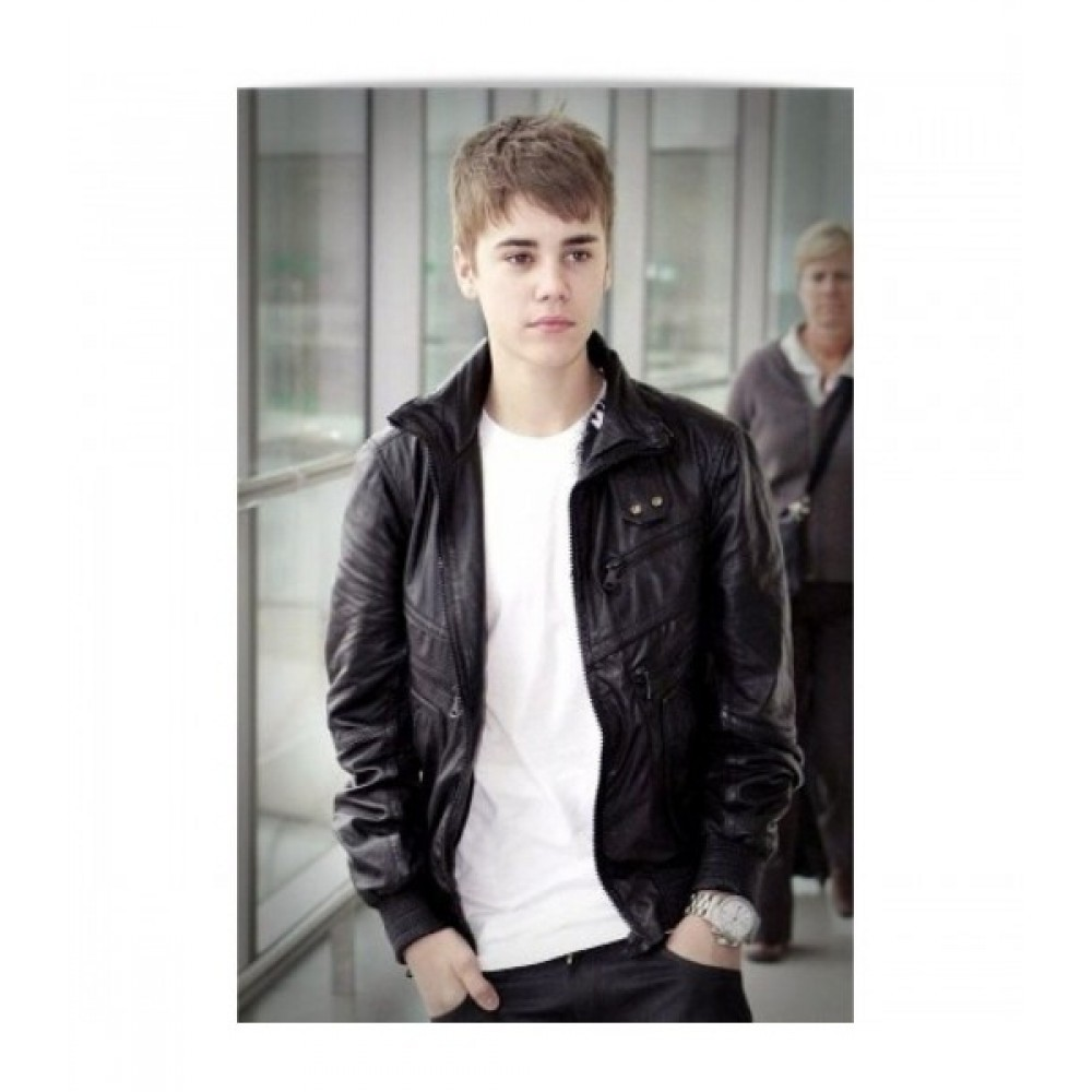 Airport Justin Bieber Heathrow Black Leather Jacket