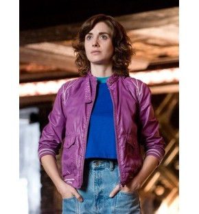 Alison Brie Glow Ruth Wilder Purple Leather Jacket