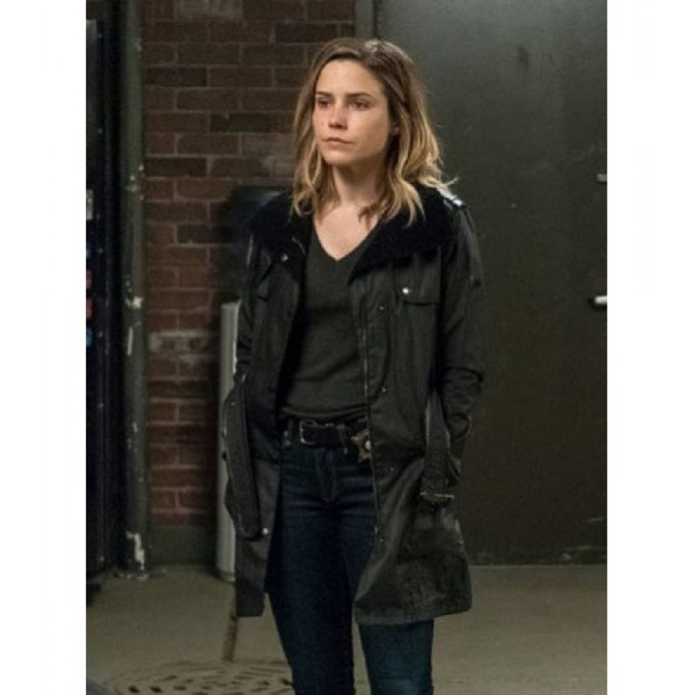 Chicago P.D Erin Lindsay Sophua Bush Black Leather Coat
