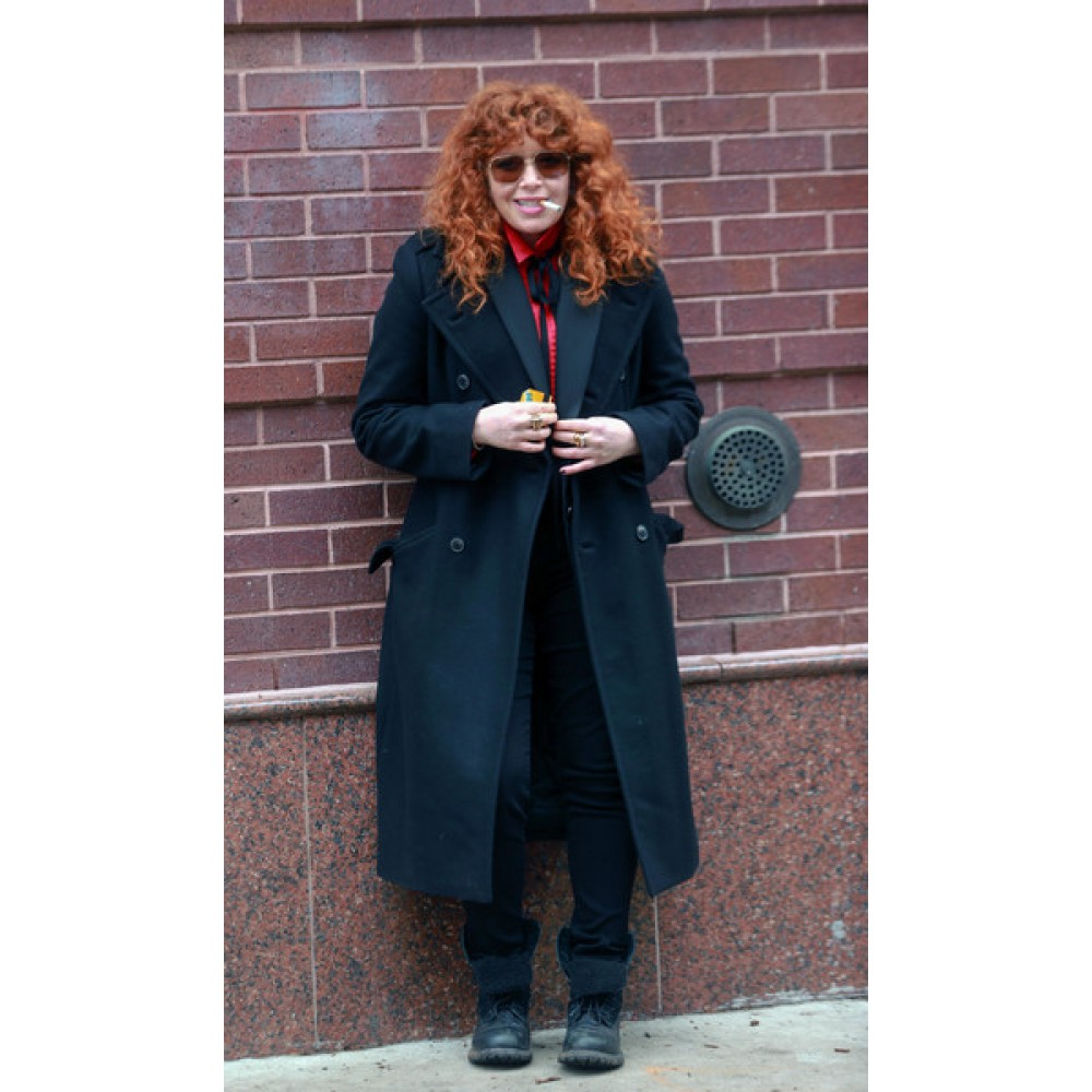 Russian Doll On The Set Of Natasha Lyonne Black Long Coat