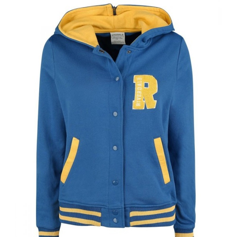 Riverdale R Logo Cheer Girls Blue Bomber Cotton Hoodie Jacket