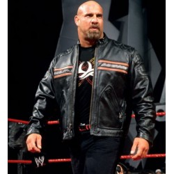 Bill Goldberg Black Biker Leather Jacket