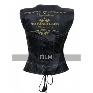 Motorcycle Womens Black Leather Vest