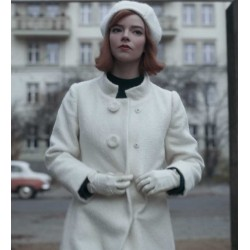 THE QUEEN'S GAMBIT ANYA TAYLOR-JOY WHITE COAT