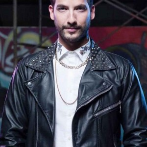 THE QUEEN OF FLOW CARLOS TORRES (CHARLY FLOW) BLACK LEATHER JACKET