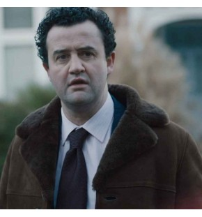 DES DANIEL MAYS (DCI PETER JAY) BROWN SHEARLING SUEDE LEATHER COAT