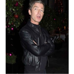 NOEL GALLAGHER CHRISTMAS PARTY LEATHER BLACK JACKET