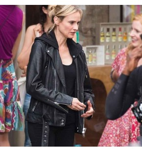 THE 355 JESSICA CHASTAIN (MACE) BLACK LEATHER MOTORCYCLE JACKET