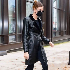 HAILEY BIEBER BLACK LEATHER TRENCH COAT