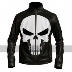 Punisher Skull Black Motorcycle Leather Jacket