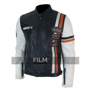 Motorcycle Badge Design Casual Stripe Jacket