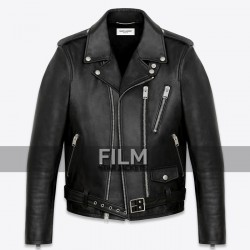 Classic Saint Laurent With Epaulets Black Motorcycle Jacket