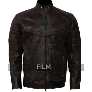 Cafe Racer Vintage Dark Brown Motorcycle Leather Jacket