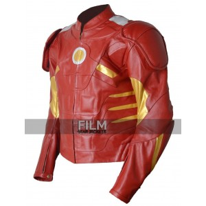Classyak Mens Ironman Motorcycle Red Leather Jacket