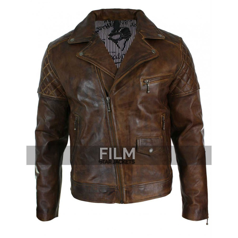 Cross Zip Retro Casual Brown Biker Jacket