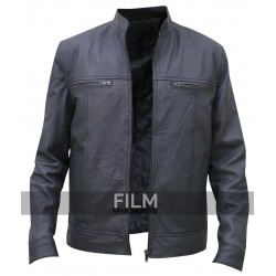 Grey Stylish Leather Blouson Jacket