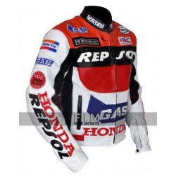 Honda Repsol Racing Red White Leather Jacket