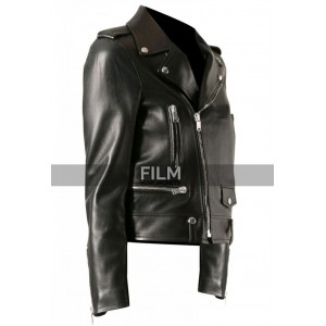 Mariah Carey Motorcycle Style Black Leather Jacket