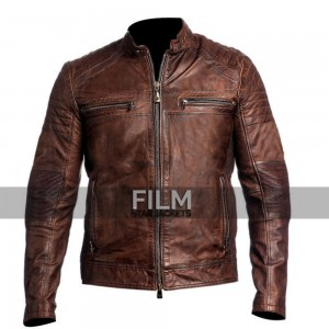 Mens Biker Vintage Distressed Brown Cafe Racer Jacket