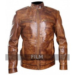 Mens Designer Biker Bronze Leather Jacket
