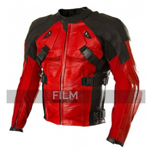 Motorcycle Deadpool Red and Black Leather Jacket