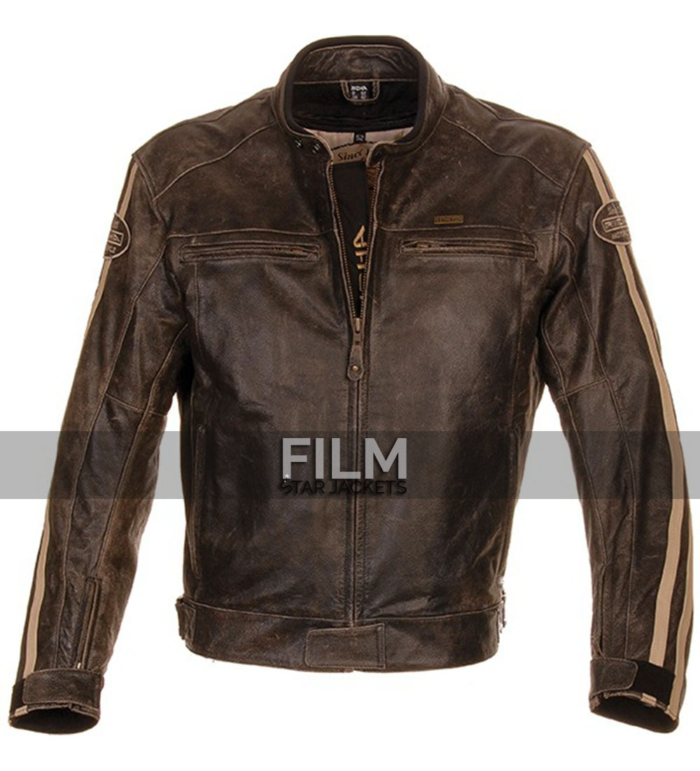 Distressed leather motorcycle jackets