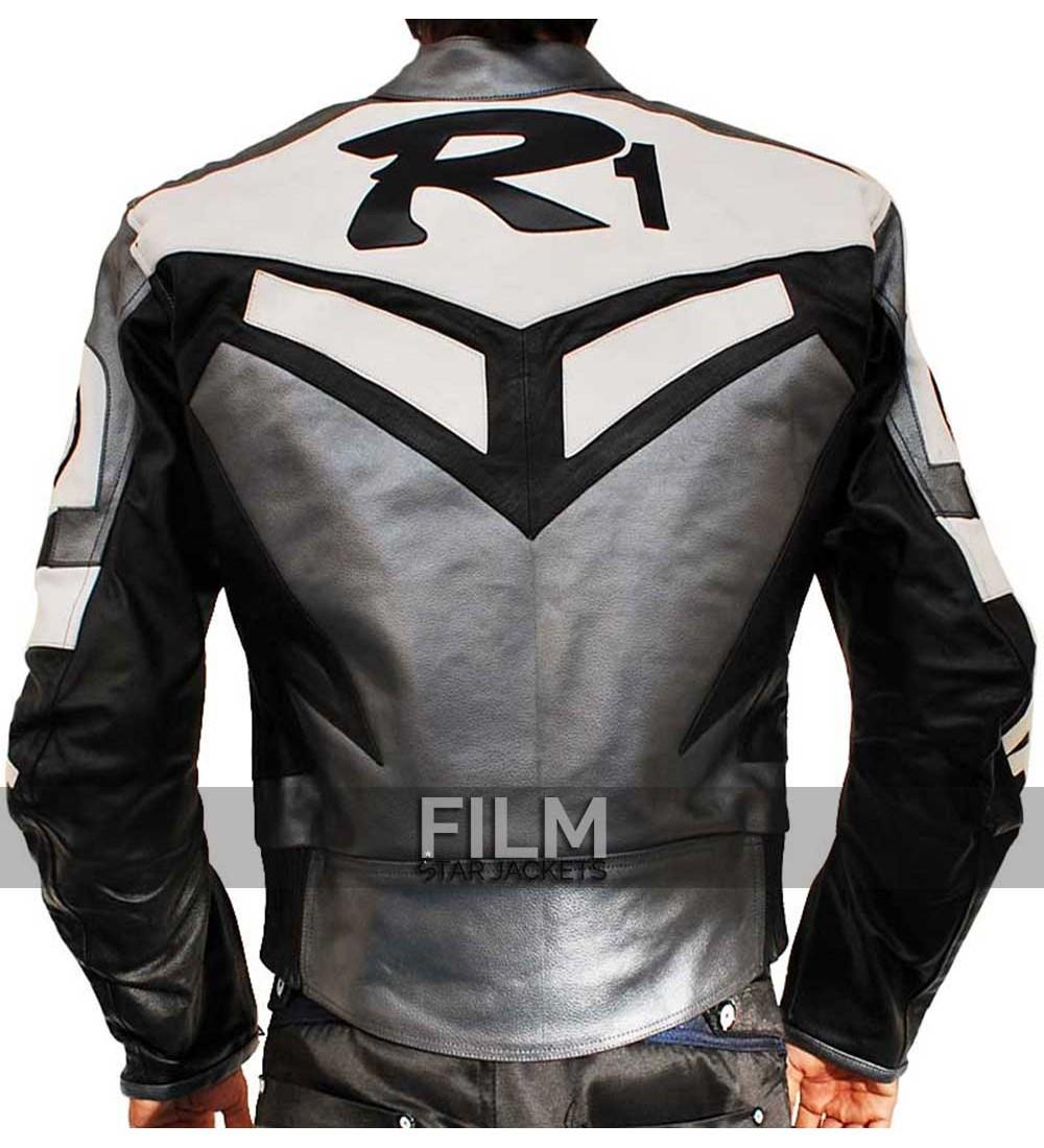 Yamaha r1 motorcycle racing grey real biker leather jacket for Yamaha r1 motorcycle jackets