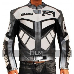 Yamaha R1 Motorcycle Racing Grey Real Biker Leather Jacket