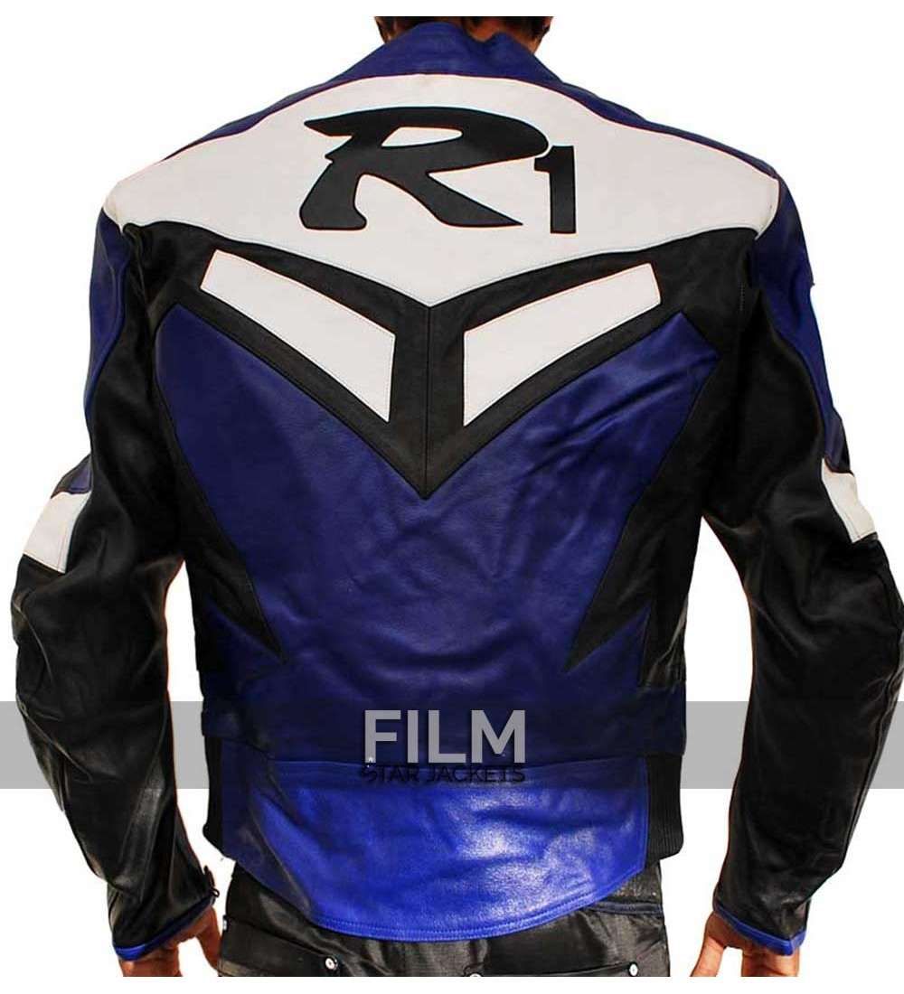 Yamaha r1 series blue biker leather jacket for Yamaha r1 motorcycle jackets