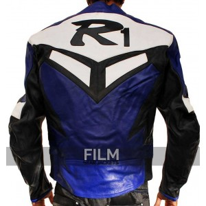 Yamaha R1 Series Blue Biker Leather Jacket