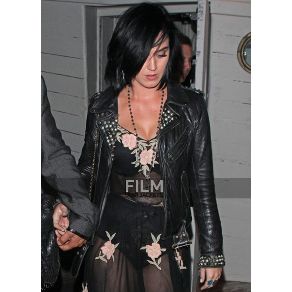 Katy Perry Black Stude Leather Jacket