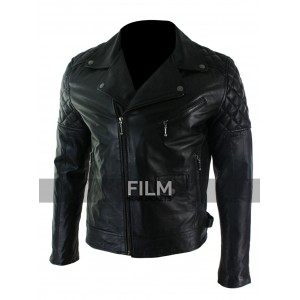 Slim Fit Cross Zip Retro Vintage Biker Leather Jacket