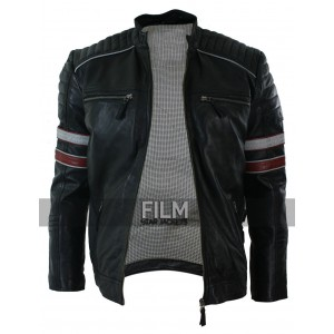 Retro White & Red Stripe Leather Jacket