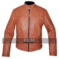 Motorcycle Mens Slimfit Bomber Leather Jacket