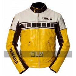 Yamaha Vintage Yellow Motorcycle Riding Leather Jacket
