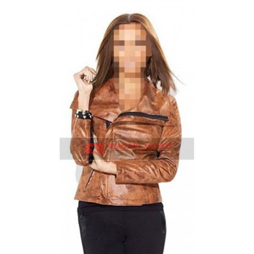 Giuliana Rancic Brown Moto Jacket