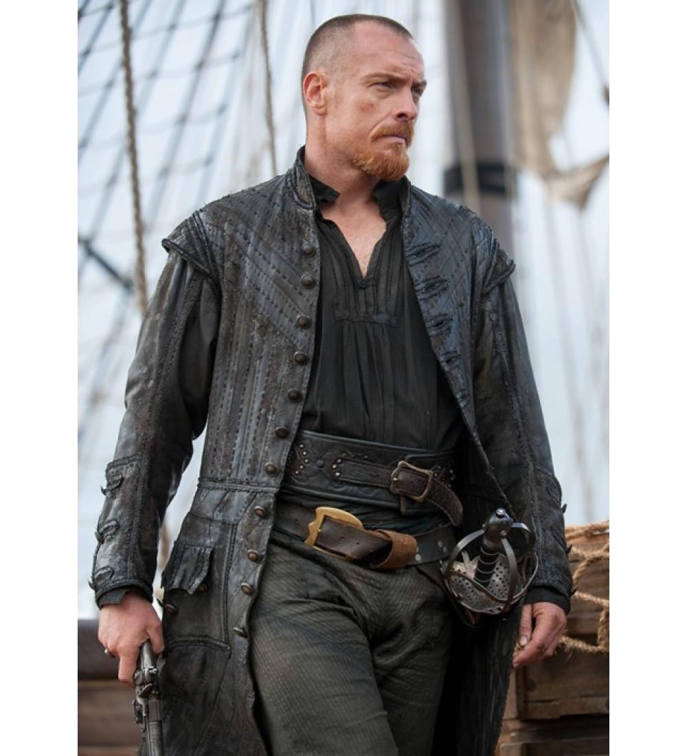 Black sails s3 pirate captain flint leather coat - Black Sails S3 Pirate Captain Flint Leather Coat 1