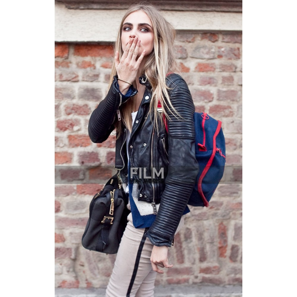 Cara Delevingne Little Girl Biker Leather Jacket