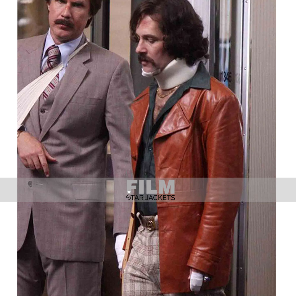 ANCHORMAN 2 BRIAN FANTANA BROWN LEATHER COAT