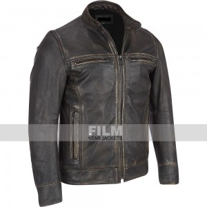 ARROW RIVET FADED BLACK BIKER LEATHER JACKET