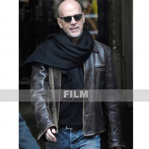 BRUCE WILLIS BROWN LEATHER JACKET
