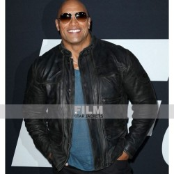 THE FATE OF THE FURIOUS DWAYNE JOHNSON PREMIERE LEATHER JACKET